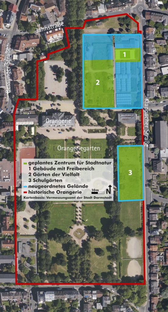 Plan der Orangerie mit eingezeichnetem Stadtnatur-Zentrum.